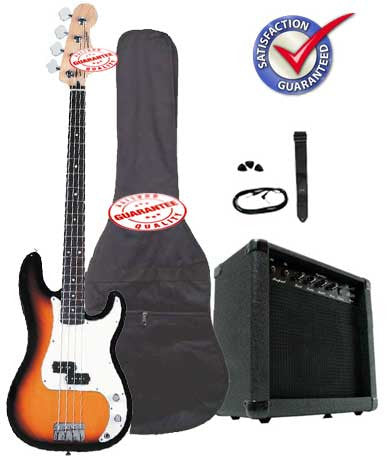 Electric Bass Guitar Pack with 20 Watts Amplifier, Gig Bag, Strap, and Cable, Sunburst