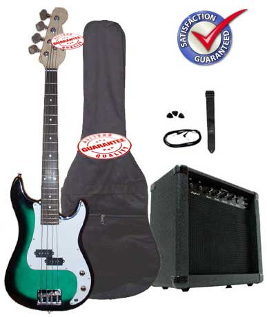 Electric Bass Guitar Pack with 20 Watts Amplifier, Gig Bag, Strap, and Cable, Greenburst
