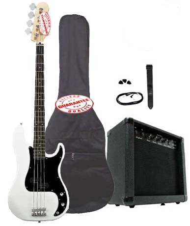 Electric Bass Guitar Pack with 20 Watts Amplifier, Gig Bag, Strap, and Cable, White