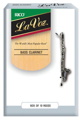 La Voz Bass Clarinet Reeds, Strength Medium-Hard, 10-pack