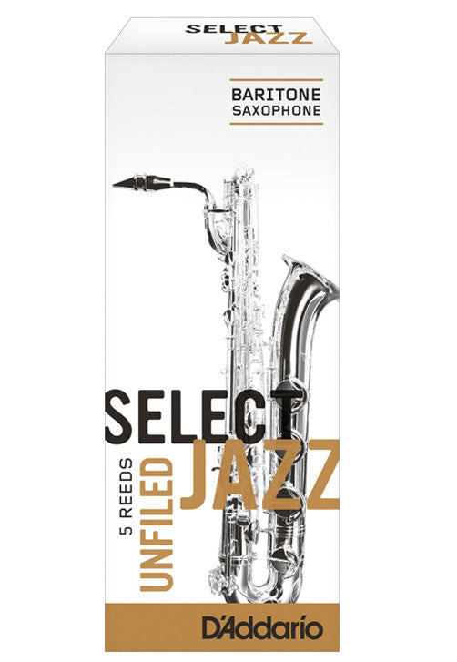 Rico Select Jazz Baritone Saxophone Reeds, Unfiled, Strength 4 Strength Medium, 5-pack