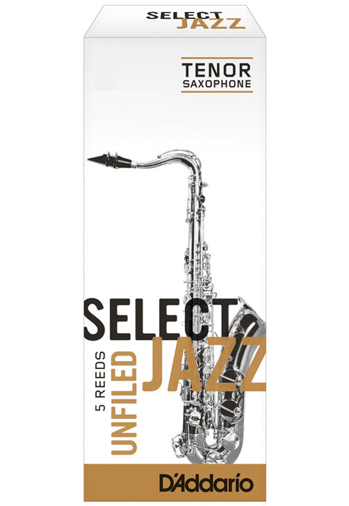 Rico Select Jazz Tenor Saxophone Reeds, Unfiled, Strength 2 Strength Hard, 5-pack