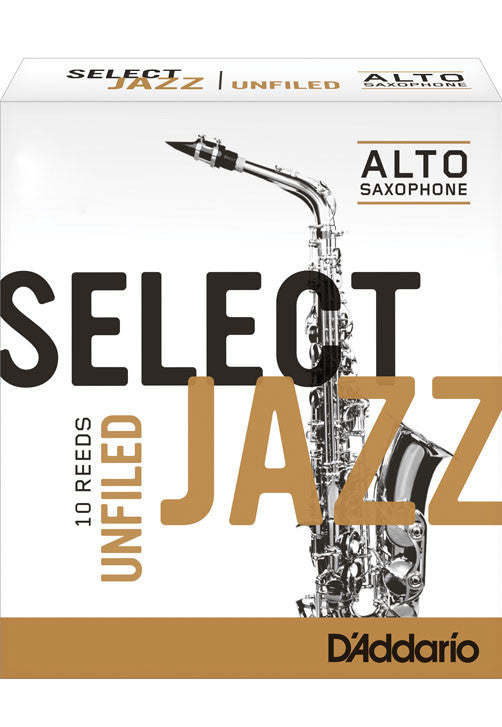 Rico Select Jazz Alto Saxophone Reeds, Unfiled, Strength 4 Strength Medium, 10-pack
