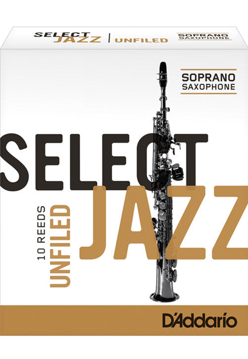 Rico Select Jazz Soprano Saxophone Reeds, Unfiled, Strength 3 Strength Medium, 10-pack