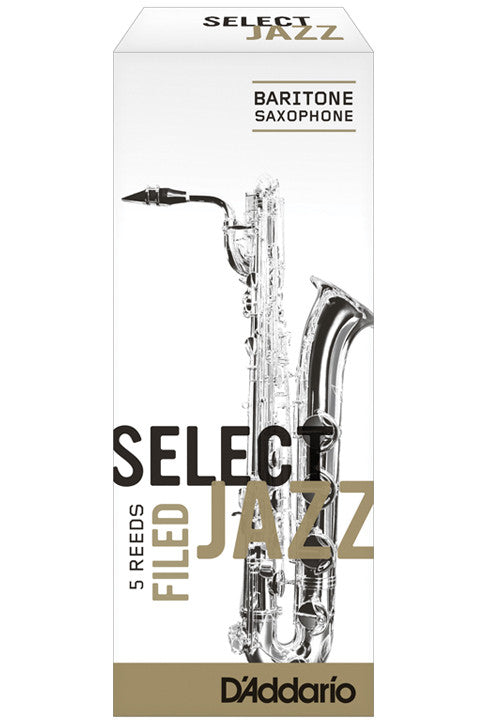 Rico Select Jazz Baritone Saxophone Reeds, Filed, Strength 3 Strength Soft, 5-pack