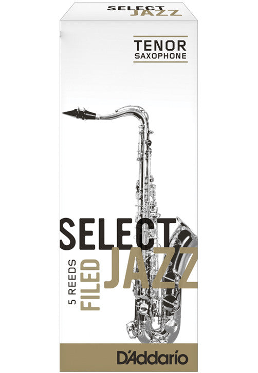 Rico Select Jazz Tenor Saxophone Reeds, Filed, Strength 3 Strength Soft, 5-pack