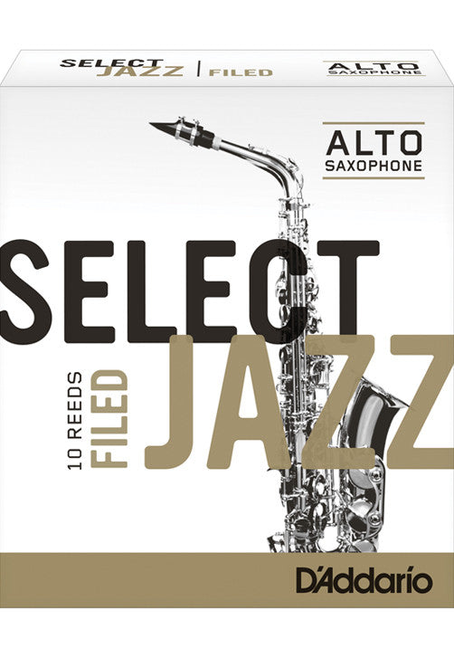 Rico Select Jazz Alto Saxophone Reeds, Filed, Strength 4 Strength Soft, 10-pack