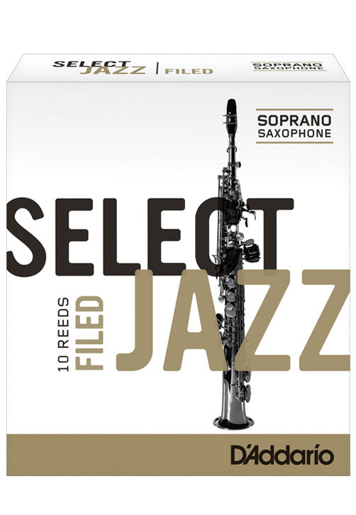Rico Select Jazz Soprano Saxophone Reeds, Filed, Strength 4 Strength Soft, 10-pack