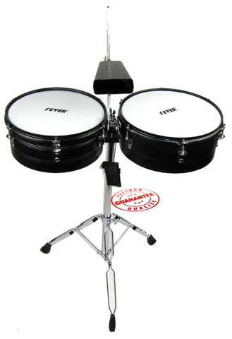 Fever Timbales Set 13 and 14 Inches with Stand Black