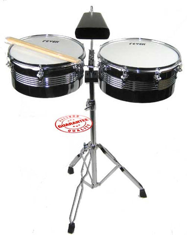 Fever Timbales Set 13 and 14 Inches with Stand Silver