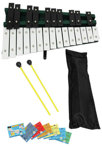 D'Luca 25 Notes Full Chromatic Xylophone Glockenspiel with Stand and Music Cards