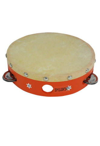 D'Luca Kids 7 Inch Orange Tambourine with Head