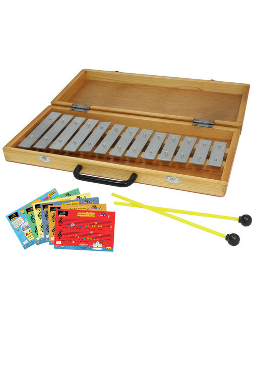 D'Luca 13 Notes Xylophone Glockenspiel with Wooden Case and Music Cards