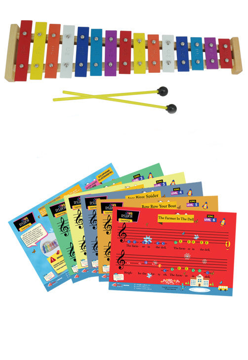 DLuca TL25S 25 Notes Full Chromatic Xylophone Glockenspiel with Music Cards