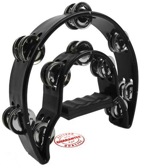 D'Luca 9 Inches Double Cutaway Half Moon Tambourine Black