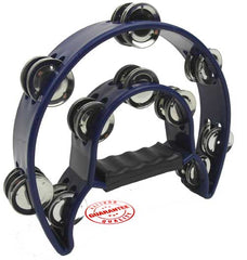 D'Luca 9 Inches Double Cutaway Half Moon Tambourine Blue