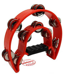 D'Luca 9 Inches Double Cutaway Half Moon Tambourine Red