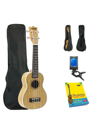 Fever Soprano Ukulele 21 inch with Bag, Tuner and Beginner's Guide, Zebra