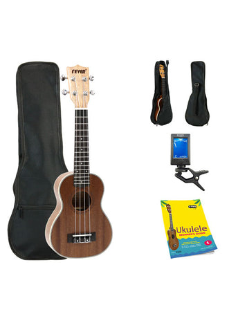 Fever Soprano Ukulele 21 inch with Bag, Tuner and Beginner's Guide, Mahogany