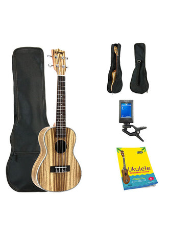 Fever Concert Ukulele 23 inch with Bag, Tuner and Beginner's Guide, Zebra