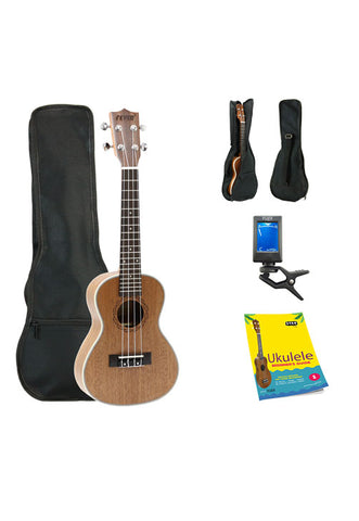 Fever Concert Ukulele 23 inch with Bag, Tuner and Beginner's Guide, Mahogany