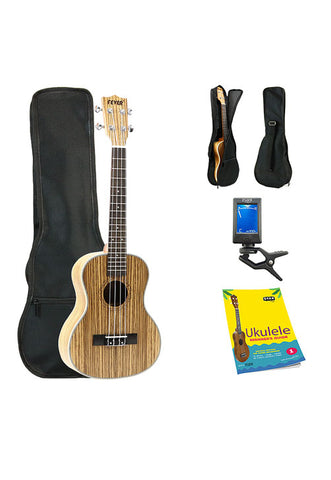Fever Tenor Ukulele 26 inch with Bag, Tuner and Beginner's Guide, Zebra