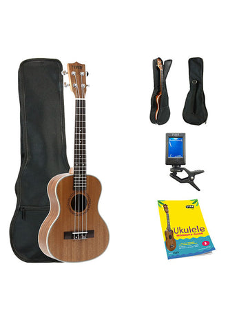 Fever Tenor Ukulele 26 inch with Bag, Tuner and Beginner's Guide, Mahogany