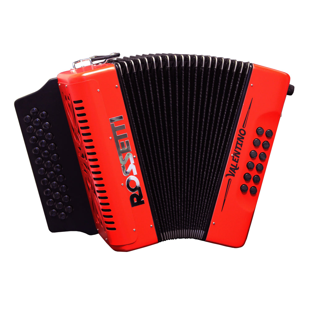 Rossetti Valentino FBE 31 Button Diatonic Accordion With Hard Case, Red
