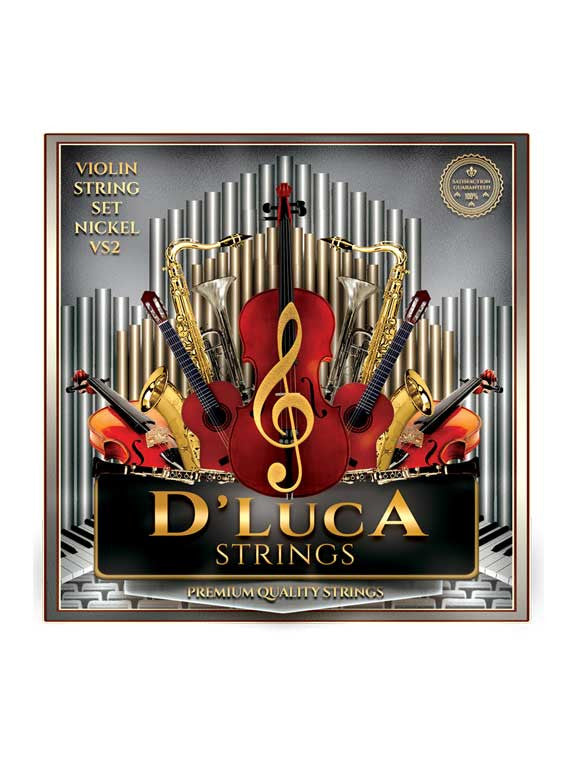 D'Luca Stainless Steel Core Flat Nickel Wound with Ball End Violin String Set 1/10