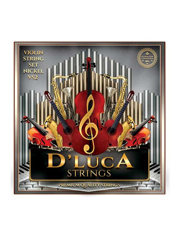 D'Luca Stainless Steel Core Flat Nickel Wound with Ball End Violin String Set 1/4