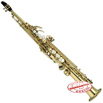 Fever Soprano Straight Saxophone Gold with Case, Mouthpiece and Reed