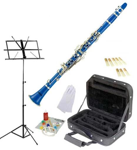 Hawk Blue Bb Clarinet Package with Case, Reeds, Music Stand & Cleaning Kit