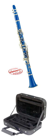 Hawk Blue Colored Bb Clarinet with Case, Mouthpiece and Reed