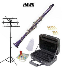 Hawk Purple Bb Clarinet Package with Case, Reeds, Music Stand & Cleaning Kit
