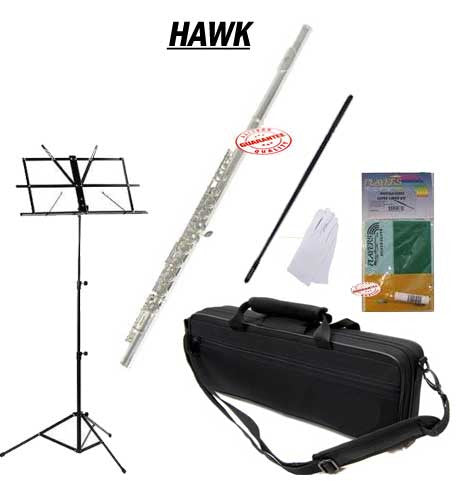 Hawk Silver Closed Holed Student Flute School Package with Case, Music Stand, and Cleaning Kit