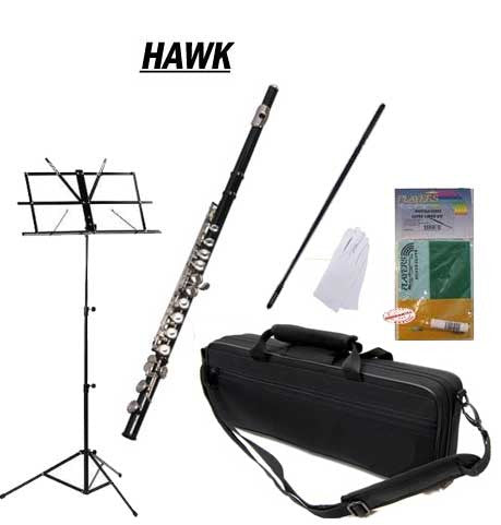Hawk Black Closed Hole C Flute School Package with Case, Music Stand, and Cleaning Kit