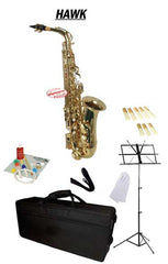 Hawk Gold Alto Saxophone School Package with Case, Reeds, Music Stand and Cleaning Kit