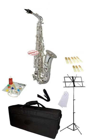 Hawk Silver Alto Saxophone School Package with Case, Reeds, Music Stand and Cleaning Kit