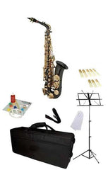 Hawk Black Alto Saxophone School Package with Case, Reeds, Music Stand and Cleaning Kit