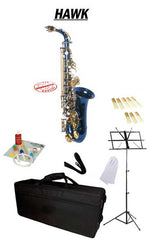 Hawk Blue Alto Saxophone School Package with Case, Reeds, Music Stand and Cleaning Kit