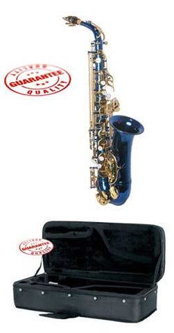 Hawk Colored Student Blue Alto Saxophone with Case, Mouthpiece and Reed