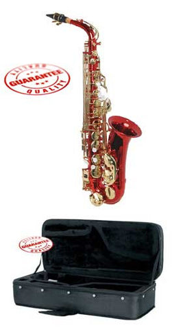 Hawk Colored Student Red Alto Saxophone with Case, Mouthpiece and Reed