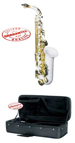 Hawk Colored Student White Alto Saxophone with Case, Mouthpiece and Reed