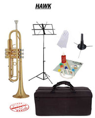 Hawk Lacquer Bb Trumpet School Package with Case, Music Stand, Trumpet Stand and Cleaning Kit