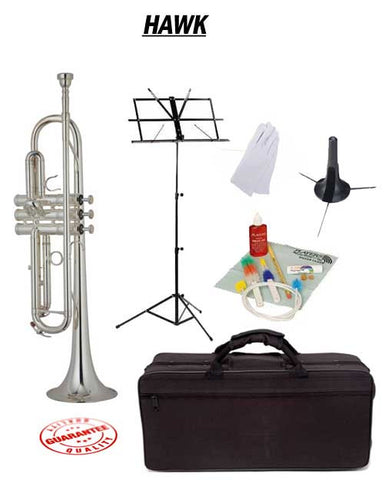 Hawk Nickel Bb Trumpet School Package with Case, Music Stand, Trumpet Stand and Cleaning Kit