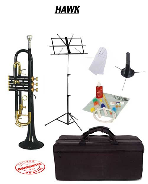Hawk Black Bb Trumpet School Package with Case, Music Stand, Trumpet Stand and Cleaning Kit