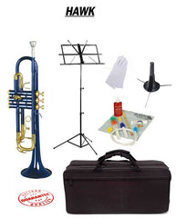 Hawk Blue Bb Trumpet School Package with Case, Music Stand, Trumpet Stand and Cleaning Kit