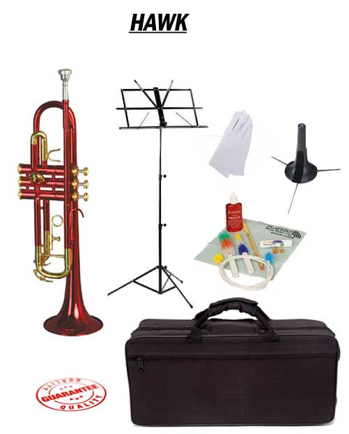 Hawk Red Bb Trumpet School Package with Case, Music Stand, Trumpet Stand and Cleaning Kit