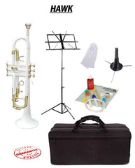 Hawk White Bb Trumpet School Package with Case, Music Stand, Trumpet Stand and Cleaning Kit