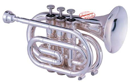 Hawk Nickel Plated Pocket Trumpet With Case